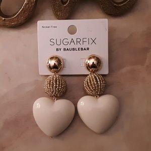 Cream Heart Gold Dangle Earrings